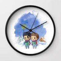 stiles Wall Clocks featuring Caroling Derek&Stiles by MGNemesi