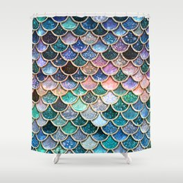 multicolor pink and aqua mermaid scales beautiful abstract glitter pattern shower curtain