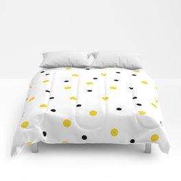 Seamless Black Yellow Dots Pattern Comforters