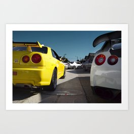 """Firing Squad"" Lineup of the Nissan Skyline GT-R Family Art Print"