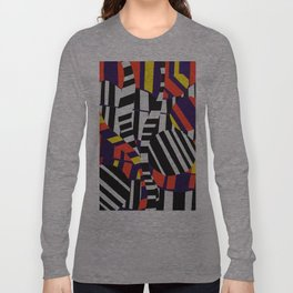Black & White Stripes with Purple & Yellow Long Sleeve T-shirt