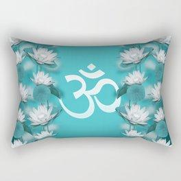 Om Symbol Gentle Lotus Stream on teal Rectangular Pillow
