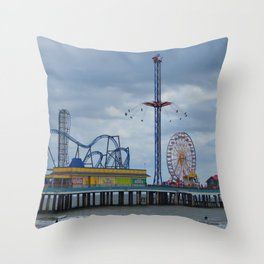 Pleasure Pier - Galveston Texas Throw Pillow