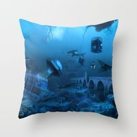 submarine Throw Pillows featuring Submarine by Misko Stanisic