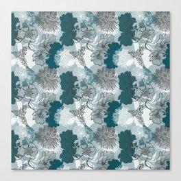 Blue Magnolia Pattern Canvas Print