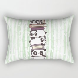 PILE OF PANDAS AND BOOKS Rectangular Pillow