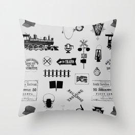 Railroad Symbols // Light Grey Throw Pillow