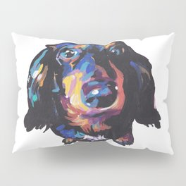 Dachshund Dog bright colorful Doxie Portrait Pop Art Painting by LEA Pillow Sham