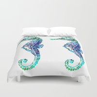 sea horse Duvet Covers featuring Sea Horse by LebensART