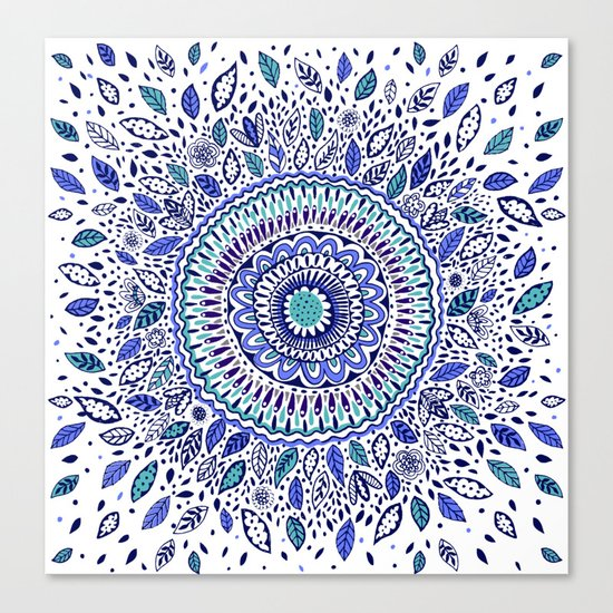 Indigo Flowered Mandala Canvas Print