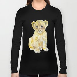 Lion Cub Watercolor Long Sleeve T-shirt