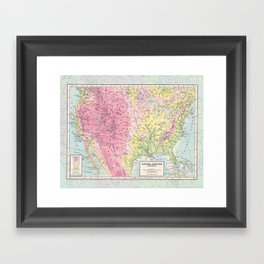 Physical Map of the United States Framed Art Print