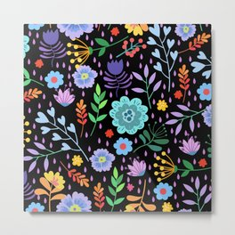 Cute colorful mixed flowers pattern Metal Print