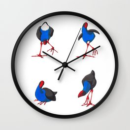 Kooky Pukekos Wall Clock