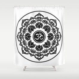 Black and White Mandala | Flower Mandhala Shower Curtain
