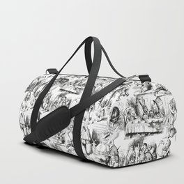 Alice in Wonderland | Toile de Jouy Pattern | Black and White | Vintage Pattern | Victorian Gothic | Duffle Bag