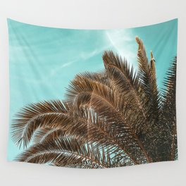 Summer Palm Leaf Print {1 of 3} | Teal Sun Sky Beach Vibes Tropical Plant Nature Art Wall Tapestry