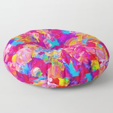 FLORAL FANTASY Bold Abstract Flowers Acrylic Textural Painting Neon Pink Turquoise Feminine Art Floor Pillow