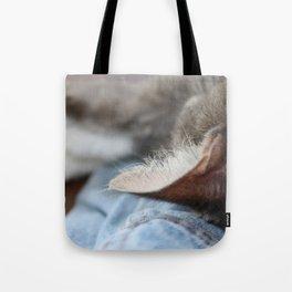 Cozy Cat Sleeping on Denim Jacket Tote Bag