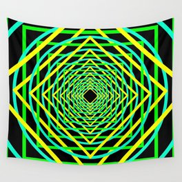 Diamonds in the Rounds Blacklight Neons Yellow Greens Wall Tapestry