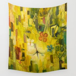 Morning. The street lamp outside the window has long since died out. Wall Tapestry