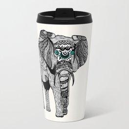 Tribal Elephant Black and White Version Travel Mug