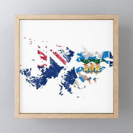Distressed Falkland Islands Malvinas Map Framed Mini Art Print