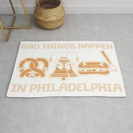 Bad Things Happen in Philadelphia Pretzel Liberty Bell Cheesesteak Rug