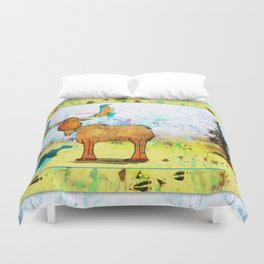 Blue Moose on the Loose ~Ginkelmier Duvet Cover