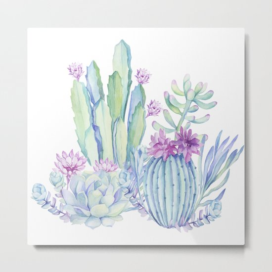 Mixed Cacti White #society6 #buyart Metal Print