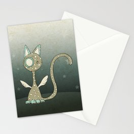 Winged polka-dotted beige cat and stars Stationery Cards