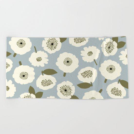 Floating Flowers Grey Beach Towel
