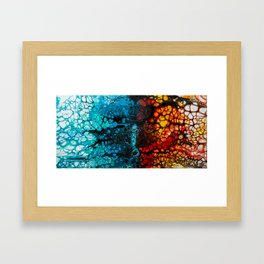 FIRE & ICE Acrylic Pour Painting Framed Art Print