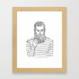 Beard Man with a Pipe Framed Art Print