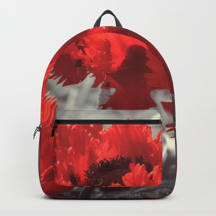 Big Red Watercolor Poppies on Grey Background Backpack