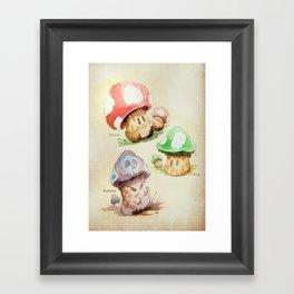 Mario Mushrooms Botanical Illustration Framed Art Print
