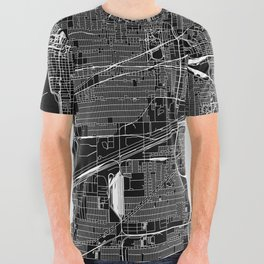 Chicago Black Map All Over Graphic Tee