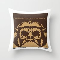 planet of the apes Throw Pillows featuring No270 My PLANET OF THE APES minimal movie poster by Chungkong