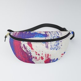 Beyond Figures. Abstract Acrylic Painting. Red & Blue Fanny Pack