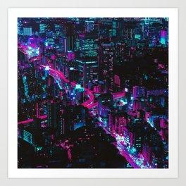 Cyberpunk Vaporwave City Art Print
