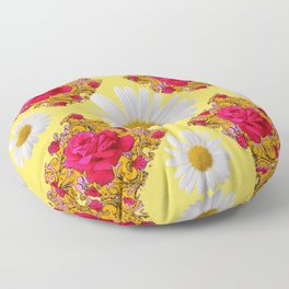 PINK ROSE & WHITE DAISIES YELLOW GARDEN ART Floor Pillow