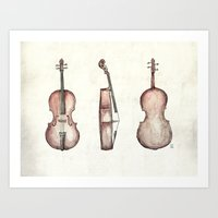 cello Art Prints featuring Cello by Mike Koubou