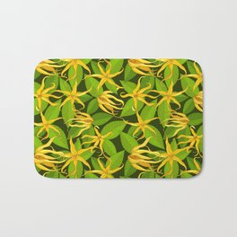 Ylang Ylang Exotic Scented Flowers and Leaves Pattern Bath Mat