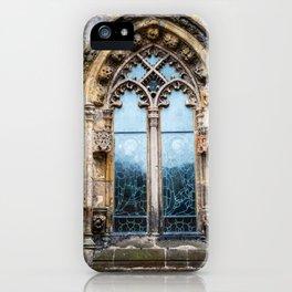 Stained glass window of Rosslyn Chapel outside Edinburgh, Scotland iPhone Case