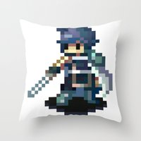 fire emblem Throw Pillows featuring Chrom Pixels - Fire Emblem Awakening by MKwon