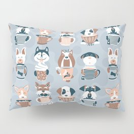 Doggie Coffee and Tea Time I // blue grey Pillow Sham