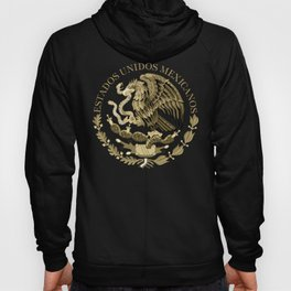 Mexican flag seal in sepia tones on black bg Hoody