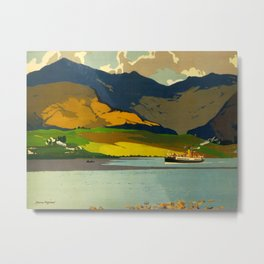 Loch Awe Vintage Mid Century Art Travel Poster British Railways Colorful Landscape Metal Print
