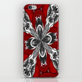 Red Black and White Kaleidoscope iPhone Skin
