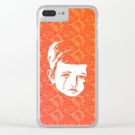 Faces - crying gypsy boy on a red and orange floral background Clear iPhone Case